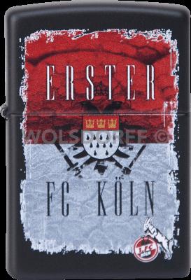 Zippo schwarz matt 1. FC Köln Flagge + Vereinslogo