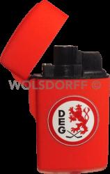 Feuerzeug Rubber Laser rot DEG Vereinslogo