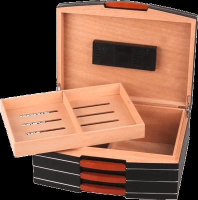 Humidor schwarz matt für ca. 75 Zigarren 2.Wahl