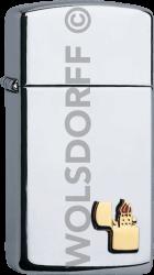 Zippo 60001342#1610ZE Zippo Slim® Emblem chrom poliert