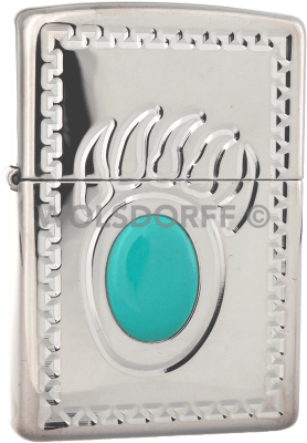 Zippo 20445 Turquoise Bear Claw Silver Plated