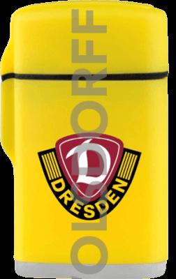 Feuerzeug Rubber Laser gelb und schwarz Dynamo Dresden