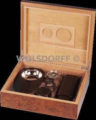 Humidor-Set Wurzelholz für ca. 25 Zigarren