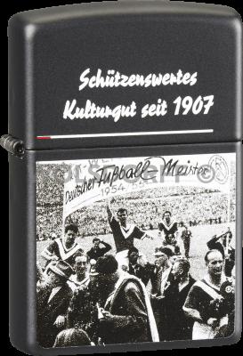 Zippo schwarz matt Rot-Weiss Essen RWE Kultur DM 1955 Jubel