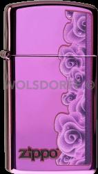 Zippo 60000058 #28124 Purple Roses Slim® Abyss