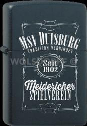 Zippo schwarz matt MSV Duisburg Tradition verbindet