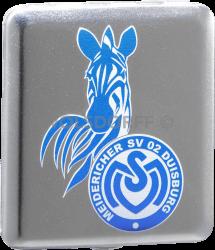 Zigarettenetui Chrom satin MSV Duisburg Vereinslogo groß mit Aufdruck