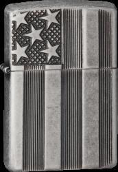 Zippo 60001624 Armor Case Antik Silver Flag