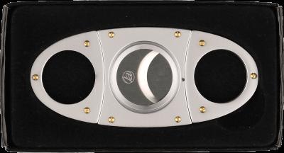 Zigarrenabschneider Edelstahl goldene Nieten 22mm
