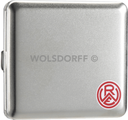 Zigarettenetui chrom satin Rot-Weiss Essen Vereinslogo klein mit Druck