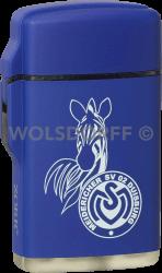 Feuerzeug Rubber Laser blau MSV Duisburg