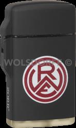 Feuerzeug Rubber Laser schwarz Vereinslogo Rot-Weiss Essen