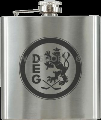 Taschenflasche Chrom mit DEG Vereinslogo in schwarz