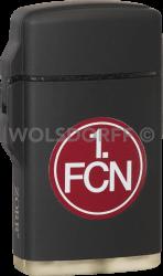 Feuerzeug Rubber Laser schwarz 1. FC Nürnberg