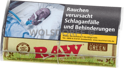 RAW Authentic Rolling Tobacco green 5 x 30g