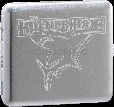 Zigarettenetui chrom satin Kölner Haie Logo groß graviert