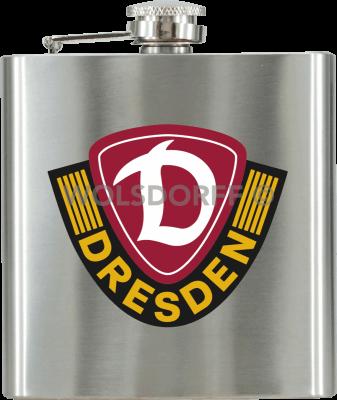 Taschenflasche Metall mit Dynamo Dresden Vereinslogo