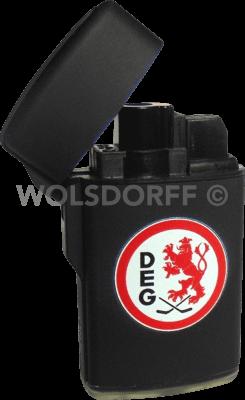 Feuerzeug Rubber Laser schwarz DEG Vereinslogo