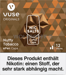 Vuse ePen Caps Nic Salts Nutty Tobacco 2er