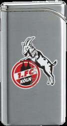Feuerzeug Tempo chrom matt 1. FC Köln Vereinslogo bedruckt.